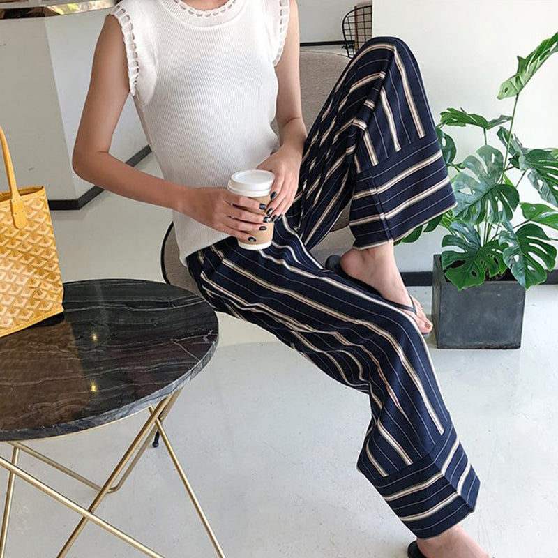 Striped High Waist Long Trousers