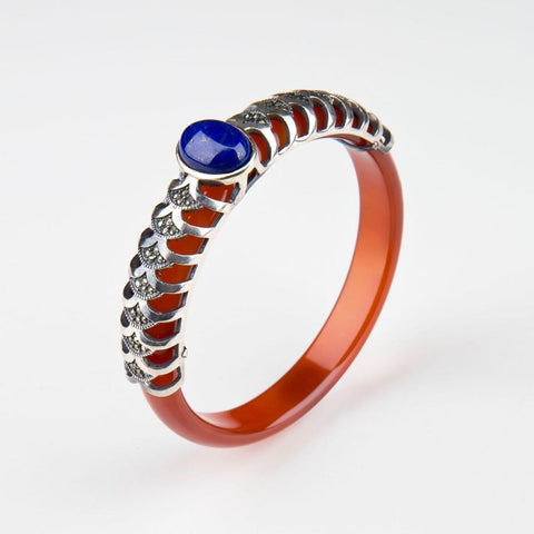 Brown Agate bangle with Silver and Lapis - Opuline