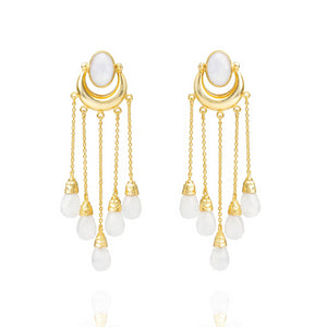 Fatima Rainbow Moonstone dangle and drop earrings - front product shot