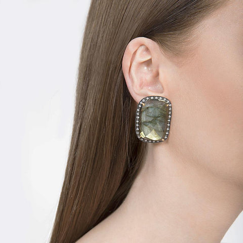 Labradorite Studs Indian Handmade Earrings - Opuline