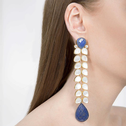 Bleu Earrings Indian Handmade with Mother of Pearl and Lapis Lazuli - Opuline