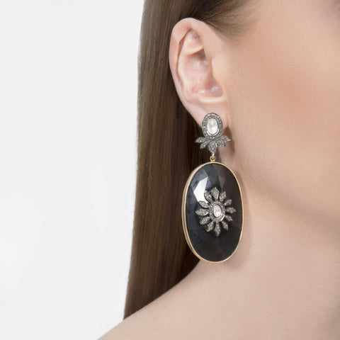 Noir Onxy earrings with uncut Polki Diamonds - Opuline