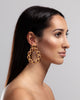 Opuline Bonita Hoop Earrings with Red Garnet gemstones and black enamel - model shot