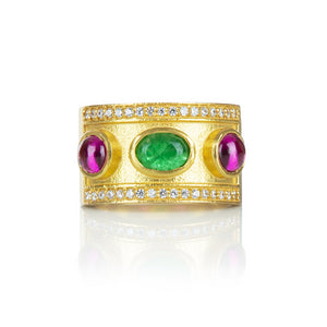 Opuline Salma ring with set Green Aventurine and Ruby stones - front product shot