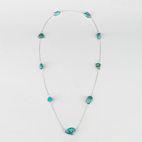 Aqua Silver Chain with Pearls and Turquoise - Opuline