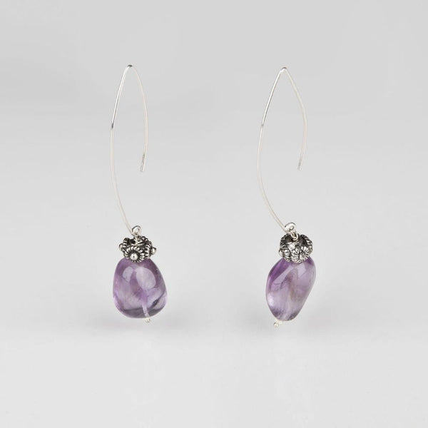 Amethyst Hook Silver Earrings - Opuline