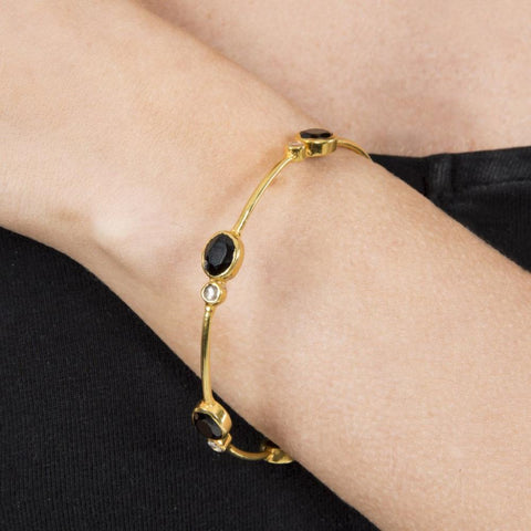 New Moon Bangle Handmade and Gold Plated - Opuline