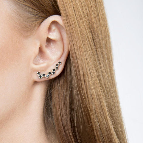 Black Ice Zig Zag Indian Handmade Silver Ear Sliders - Opuline