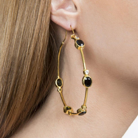 New Moon Hoop Earrings Handmade and Gold Plated - Opuline