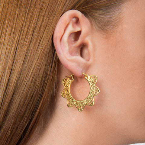 Dionne Indian Style Handmade Gold Hoop Earrings - Opuline