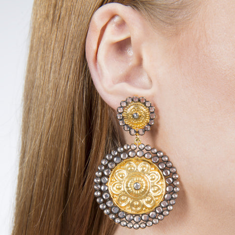 Fleur Statement Indian Handmade Gold Plated Earrings with Zirconia - Opuline