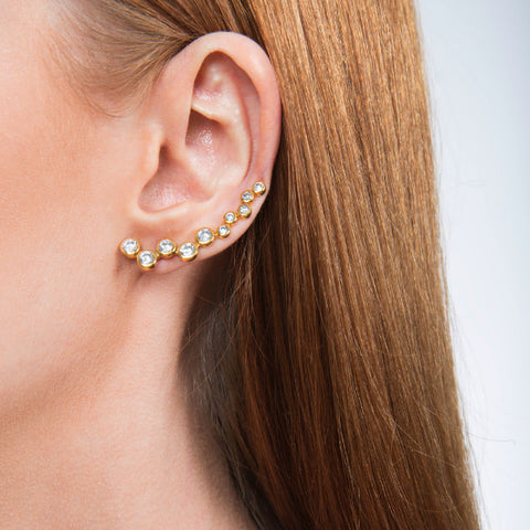 Neli Gold Plated and Zirconia Handmade Ear Sliders - Opuline