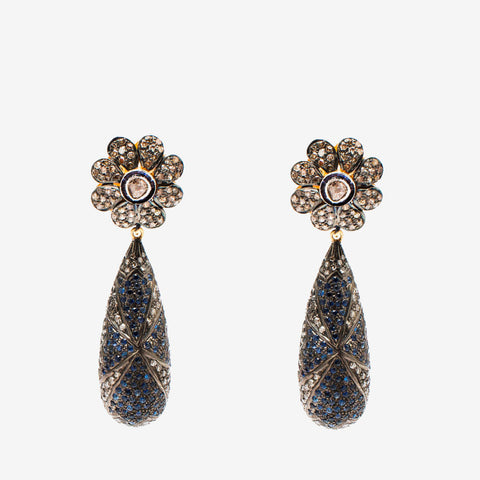 Empress Diamond Earrings with Sapphire - Opuline