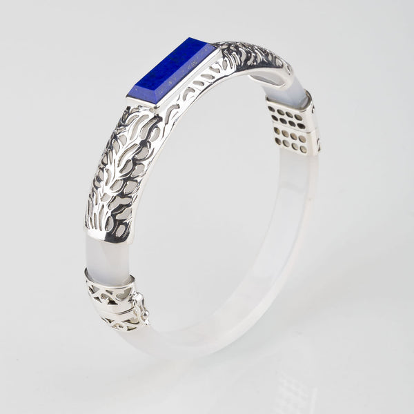 Filigree Rectangle Silver Bangle Lapis Lazuli - Opuline