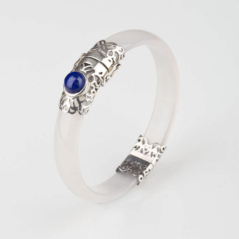 Filigree Round Silver and Lapis Lazuli Bangles- Opuline