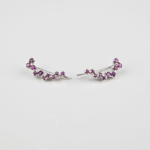 Lala Silver Ruby Handmade Ear Sliders  - Opuline