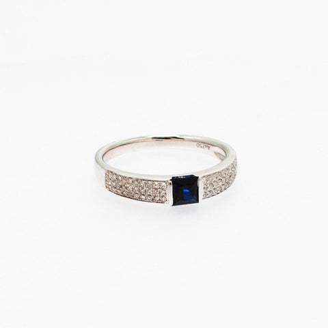 Mira Ring with White Gold, Diamond and Sapphire - Opuline