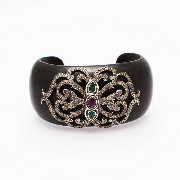 Niki Wooden Cuff with Diamonds Emeralds, Ruby - Opuline