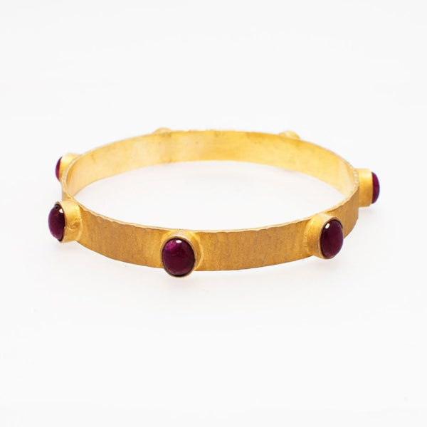 Red Cassis Gold Plated Silver Bangle - Opuline