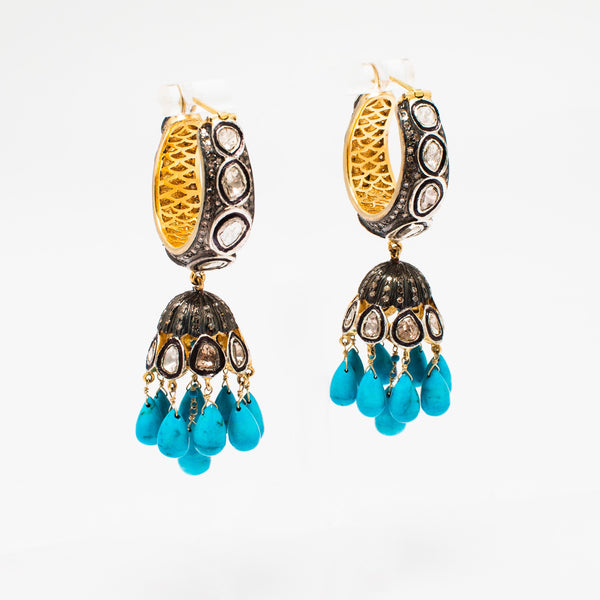 Turquoise Jhumki Earrings with Real Turquoise and uncut Diamonds - Opuline
