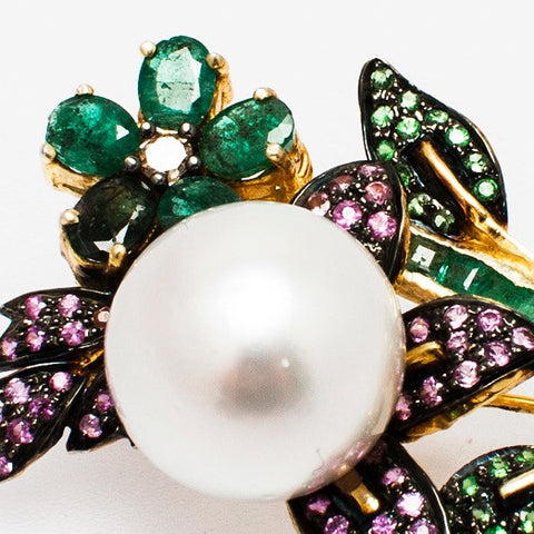 Gem Bouquet Silver brooch with Emeralds, green Sapphires, blue Sapphires, pink Sapphires and a Diamond- Opuline