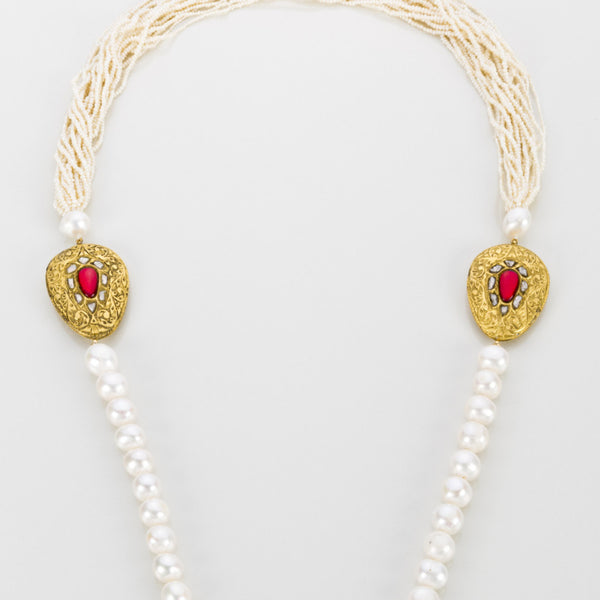 Regal Pearls Necklace with Raw Rubies - Opuline