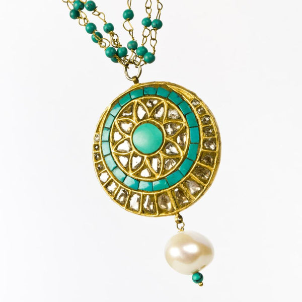 Daisy Diamond Polki and Turquoise Handmade Necklace - Opuline