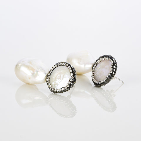 Sky White Earrings with Perls- Opuline