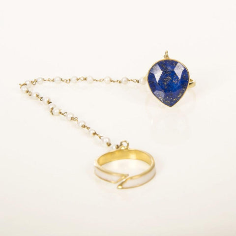 Bleu Indian Handmade Ring with Lapis Lazuli - Opuline