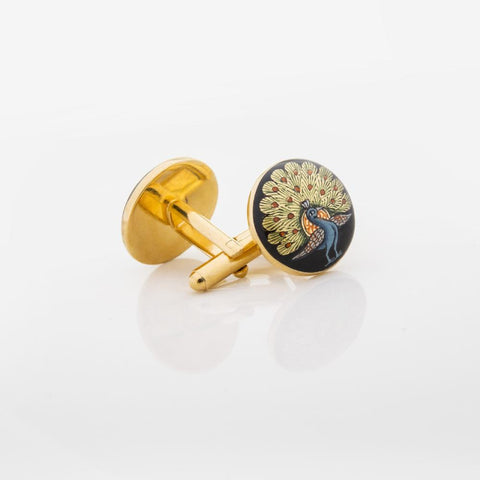 Peacock Cufflinks intricately painted by an artisan - Opuline