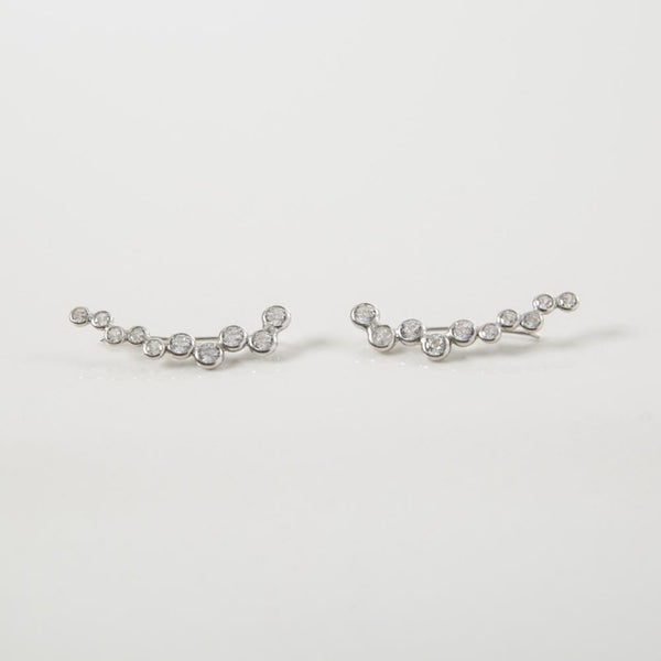 Neli Silver and Zirconia Handmade Ear Sliders - Opuline