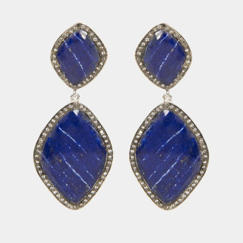 Lapis Luzuli Indian Handmade Gold Plated Earrings Large - Opuline
