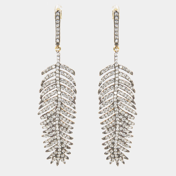 Giselle Indian Handmade Gold Plated Feather Earrings - Opuline