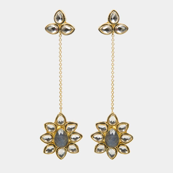 Ariana Labradorite Handmade Gold Plated Shoulder Duster Earrings - Opuline
