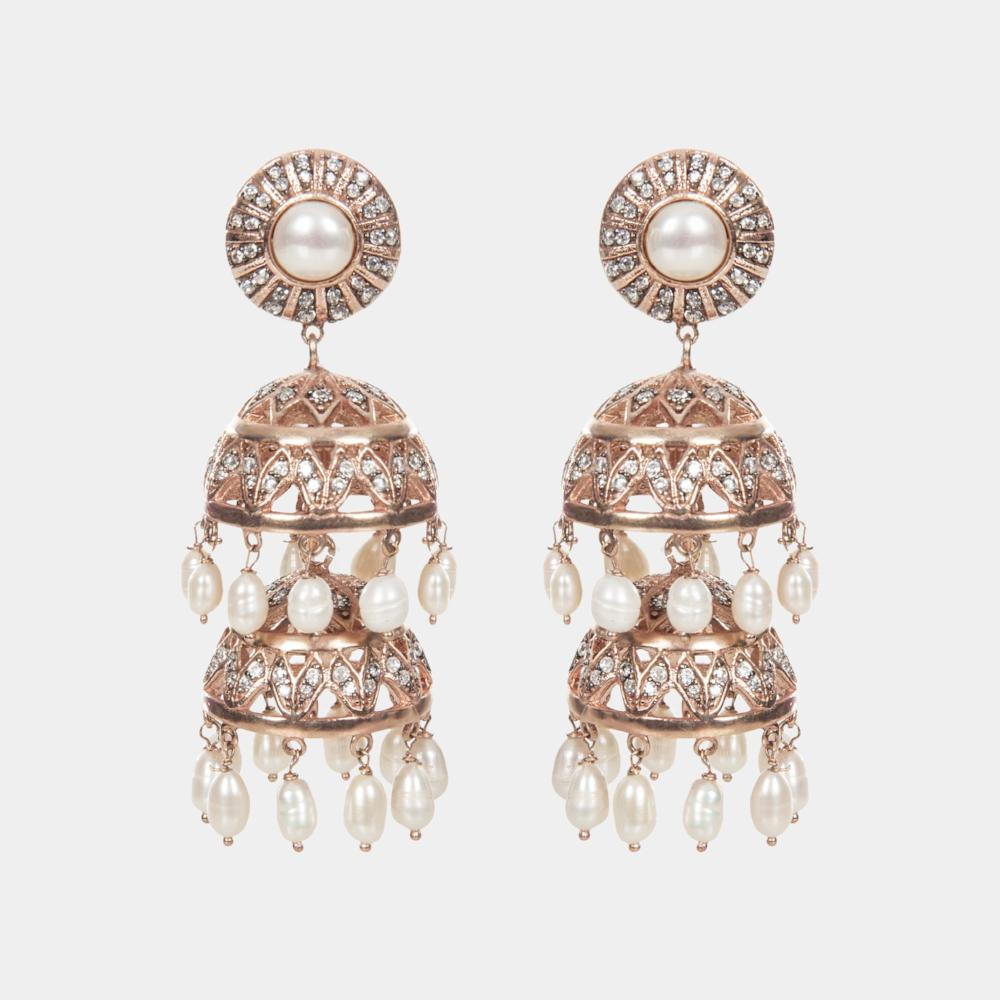 Bambi Jhumki Rose Gold Indian Handmade Chandelier Earrings Opuline
