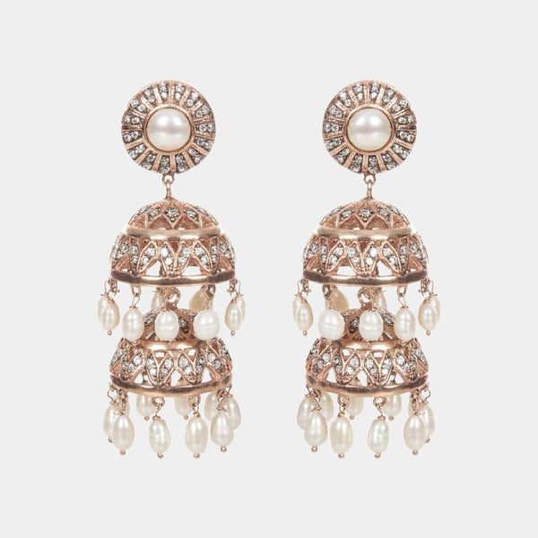Bambi Jhumki Rose Gold Indian Handmade Chandelier Earrings - Opuline