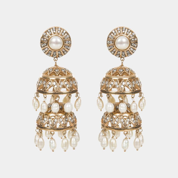 Bambi Jhumki Indian Handmade Gold Chandelier Earrings - Opuline