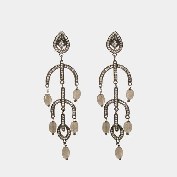 Odette Labradorite Indian Handmade Earrings - Opuline