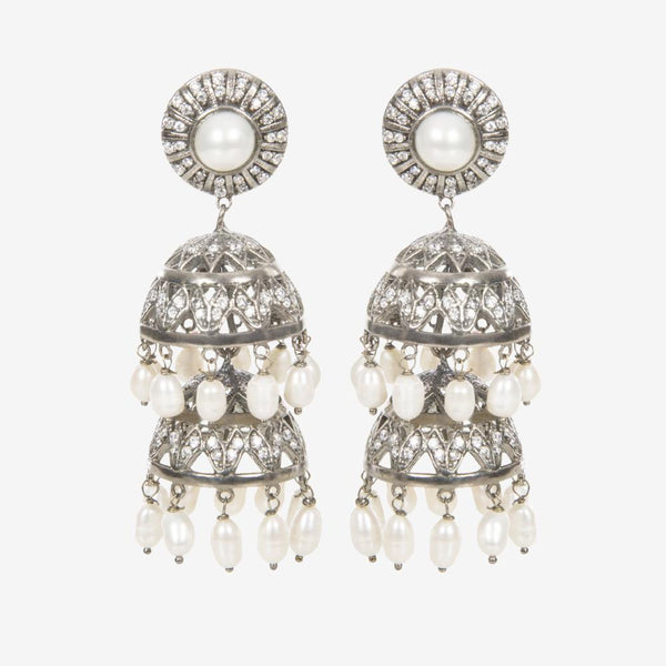 Bambi Jhumki Silver Indian Handmade Chandelier Earrings - Opuline