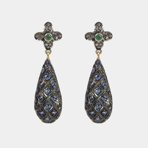Empress Small - Emerald, Diamond and Sapphire Handmade Earrings - Opuline