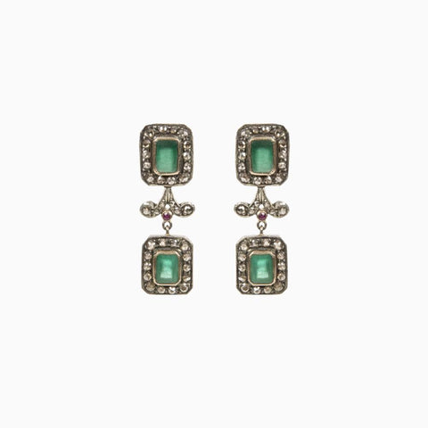 Belle Antique Emerald and Diamond Necklace and Earrings - Opuline