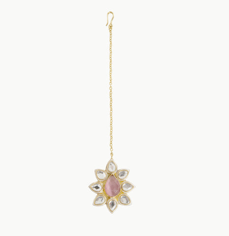 Lolita Tikka Gold Plated with Pink Stone - Opuline