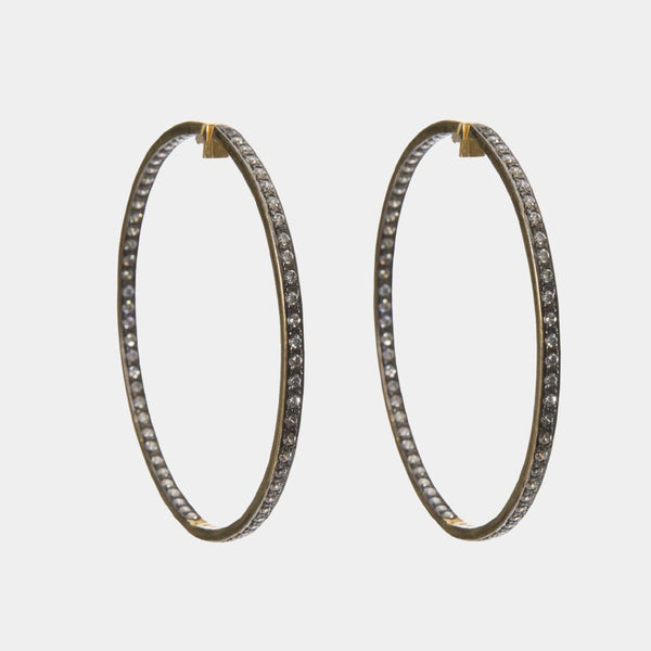 Bianca Large Silver Indian Handmade Hoop Earrings with Gold Plating - Opuline