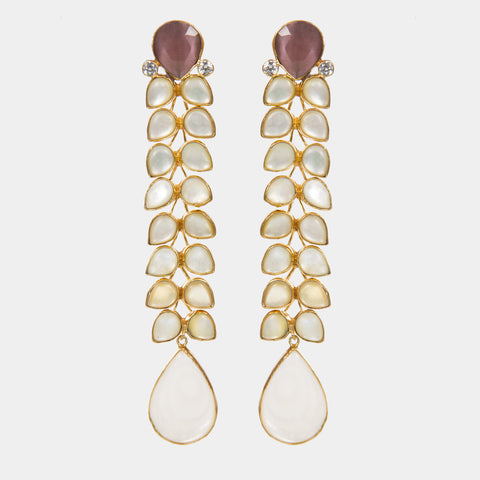 Cassie Shoulder Duster Earrings with Mother of Pearl and Pink Stones - Opuline