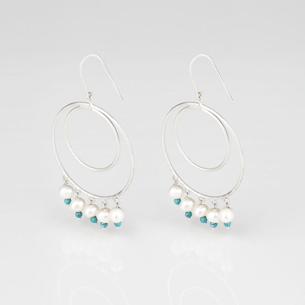 Hula Hoop Silver Pearl and Turquoise earrings - Opuline