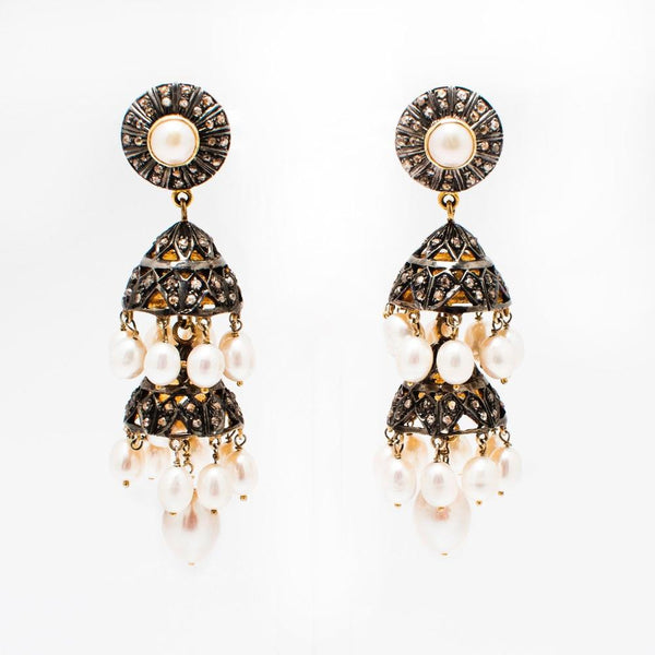 Razz Diamond and Pearl Earrings - Opuline