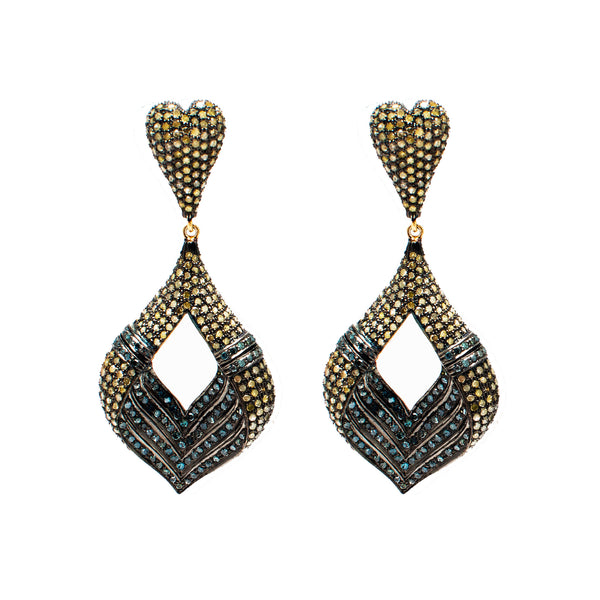 Sehar Blue and Yellow Diamond Earrings - Opuline