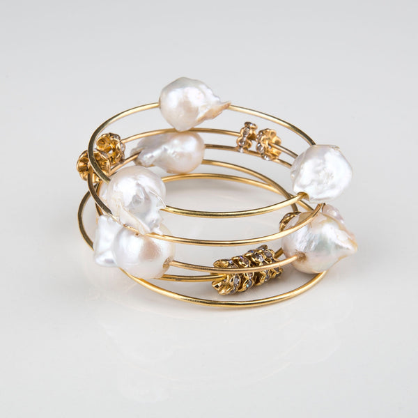 Stackable Baroque bangles with Pearls and Crystal Spacers- Opuline