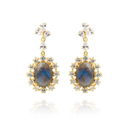 Opuline Stephanie Earrings with Labradorite and Cubic Zirconia - product shot