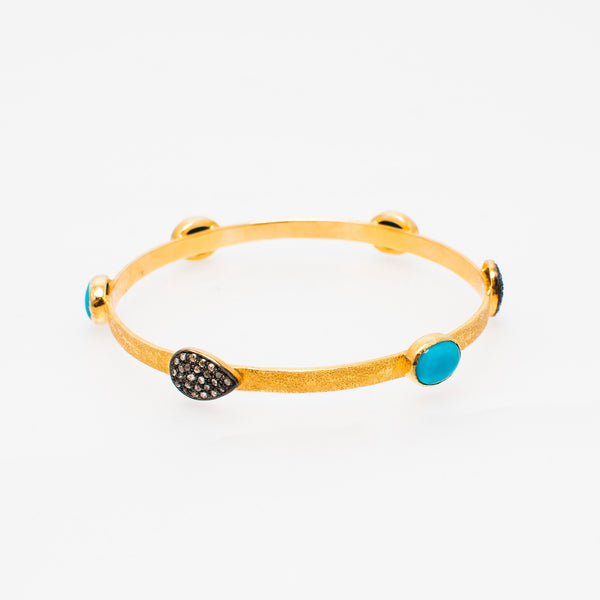 Taisae Gold Plated Bangle with Diamonds - Opuline